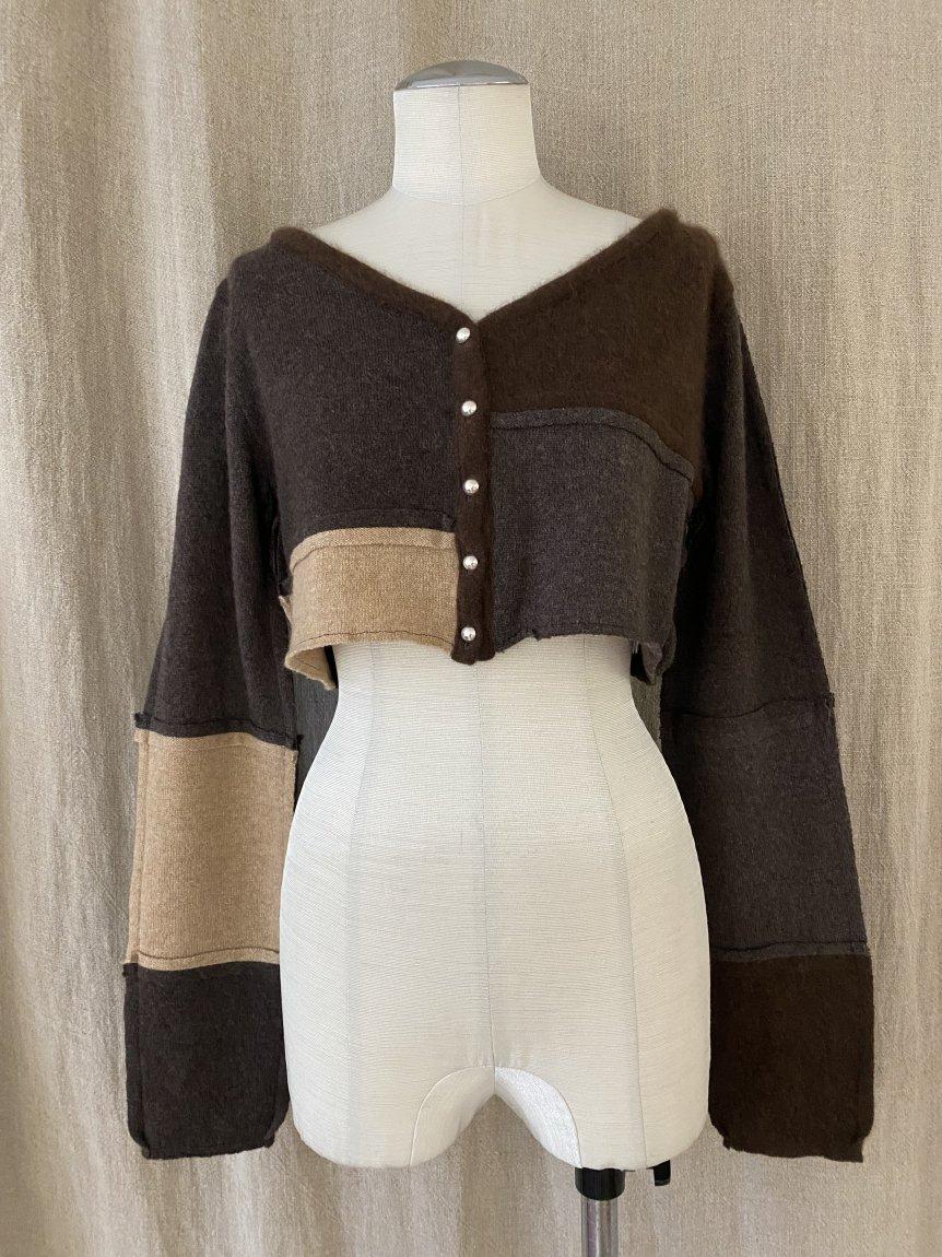 cashmere patchwork cardigan