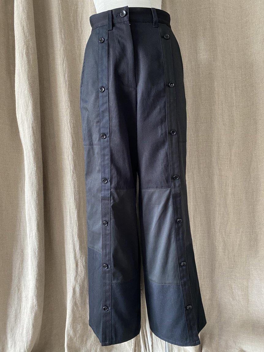 center slit patchwork pants (BLACK/26)