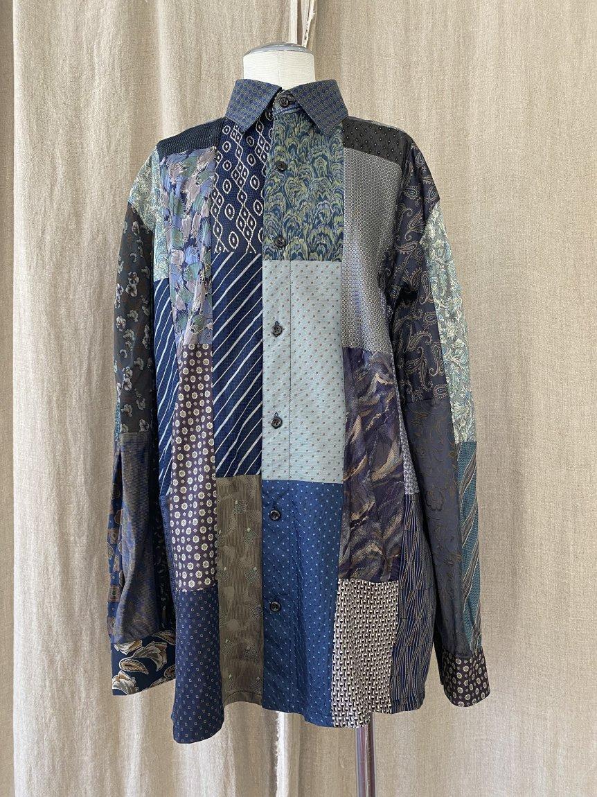 tie patchwork box shirt -A