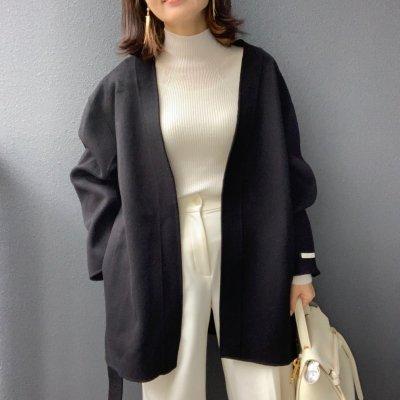 Belted coat / Black・Beige
