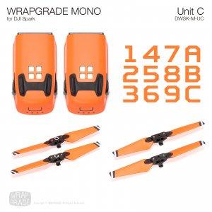 WRAPGRADE MONO for DJI Spark スキン シール ユニットC バッテリー プロペラ 全20色