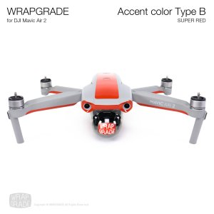 <img class='new_mark_img1' src='https://img.shop-pro.jp/img/new/icons12.gif' style='border:none;display:inline;margin:0px;padding:0px;width:auto;' />WRAPGRADE for DJI Mavic Air 2 アクセントカラー B スーパーレッド
