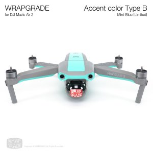 <img class='new_mark_img1' src='https://img.shop-pro.jp/img/new/icons12.gif' style='border:none;display:inline;margin:0px;padding:0px;width:auto;' />WRAPGRADE for DJI Mavic Air 2 アクセントカラー B ミントブルー【Limited】
