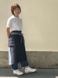 indigo dress apron デニム エプロン (ポケット底革有)