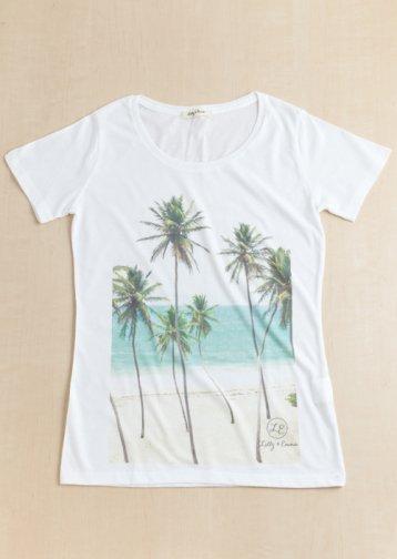 【LADIES】Beach-side Palmtree Photo Tee / ビーチサイド プリントTシャツ
