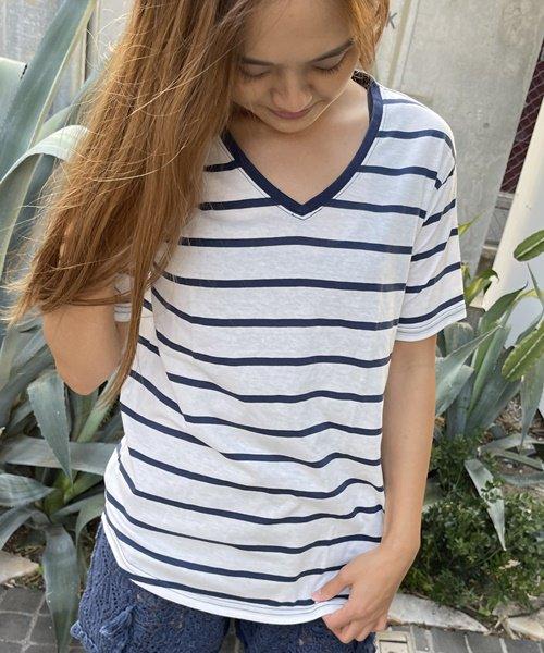 【SALE】【UNISEX】V Neck BORDER Tee / Vネック ボーダー Tシャツ