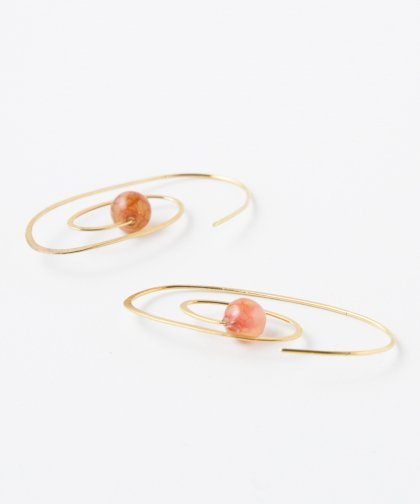 【LADIES】Lan Vo Spiral Type Jade Stone Pierced Earring / ジェイド ストーン ピアス