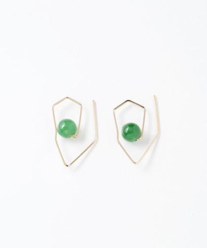 【LADIES】Lan Vo Deformation Type Jade Stone Pierced Earring / ジェイド ストーン ピアス