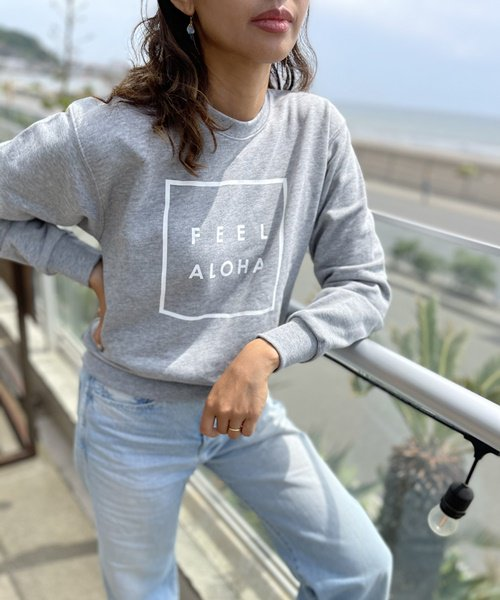 【UNISEX】FEEL ALOHA Crew Neck Sweat Shirt / FEEL ALOHA クルーネック スウェットシャツ