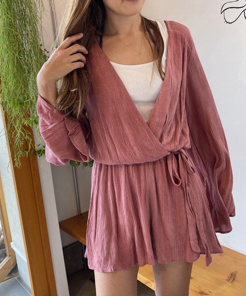 【LADIES】PPLA Dusty Pink Long Sleeve Rompers/ダスティーピンク ロングスリーブロンパース