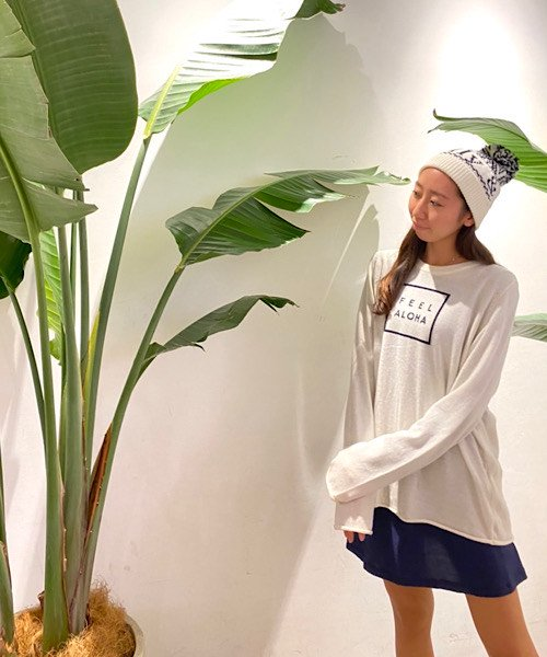 【UNISEX】FEEL ALOHA Pullover Knit Top/FEEL ALOHA プルオーバーニットトップス