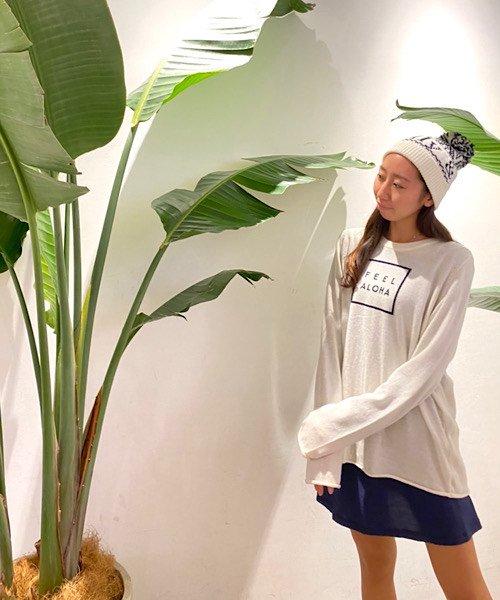 【UNISEX】FEEL ALOHA Pullover Knit Top/FEEL ALOHA プルオーバーニットトップス