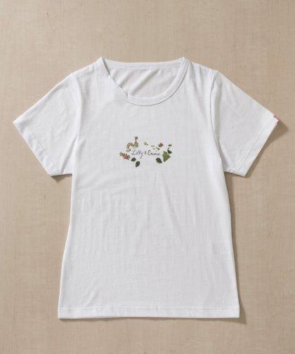 【LADIES】刺繍デザインロゴTシャツ