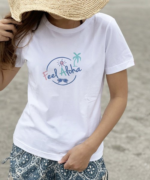 【LADIES】ラウンド FEEL ALOHA Tシャツ