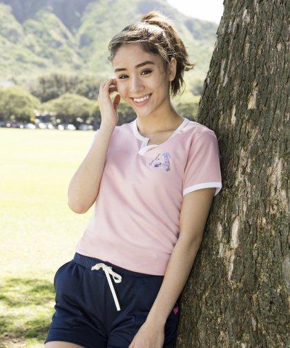 [LADIES] [テニスウェア] FEEL ALOHA ワンポイントTシャツ