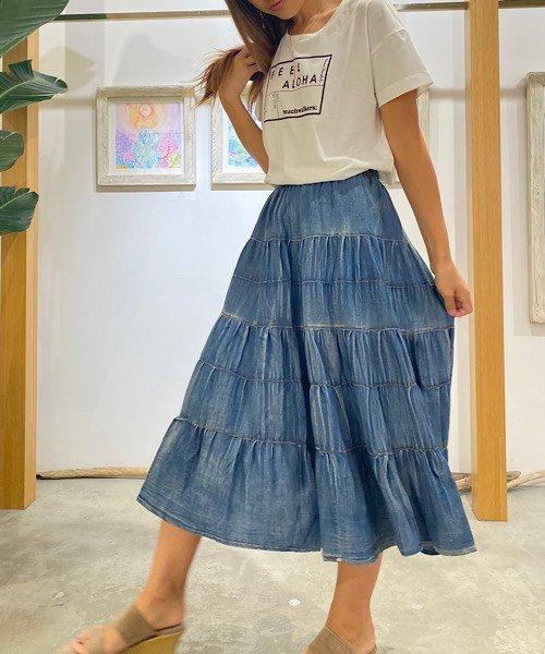 【LADIES】デニム風ティアードスカート