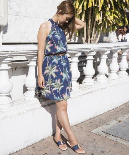 【LADIES】フローラルベルトドレス