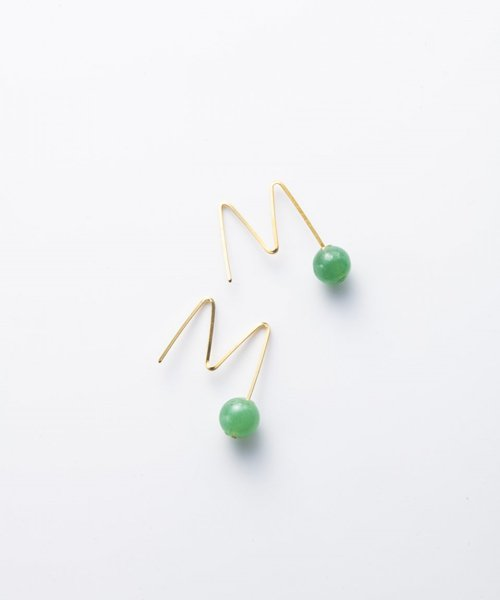 【LADIES】Lan Vo jaide×Quartz Pierced  Earring/ジェイド×クオーツ ピアス