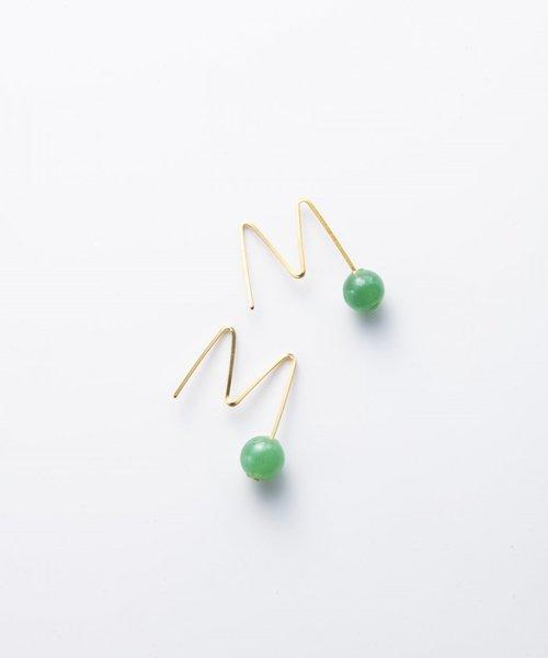 【LADIES】Lan Vo jaide×Quartz Pierced  Earring/ジェイド×クオーツ ピアス