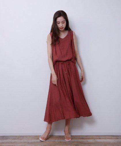 【LADIES】M.deux/楊柳ドロストワンピース ピンク
