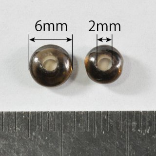 スモーキークォーツ ロンデル6mm(2mm穴)10個