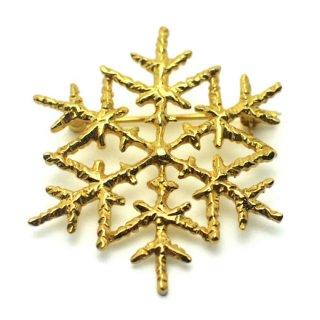 雪の結晶ブローチ(金メッキ)
