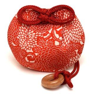守り巾着 朱菊×赤