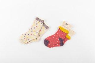 2足組クルーソックス、靴下、アニマル、ドット、女の子