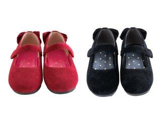 シューズ バレエ バックリボン ハートチャーム付き | 女の子 靴 くつ 子ども 子供 キッズ 赤 黒 パンプス リボン りぼん フォーマル 15cm 16cm 17cm 18cm 19cm 20cm