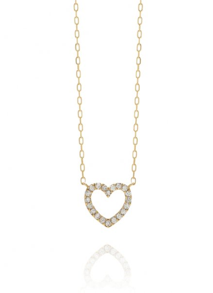 K10YG ダイヤモンドネックレス「ハート」