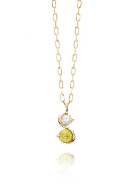 K10YG 誕生石ネックレス「8月ペリドット/ダイヤモンド」