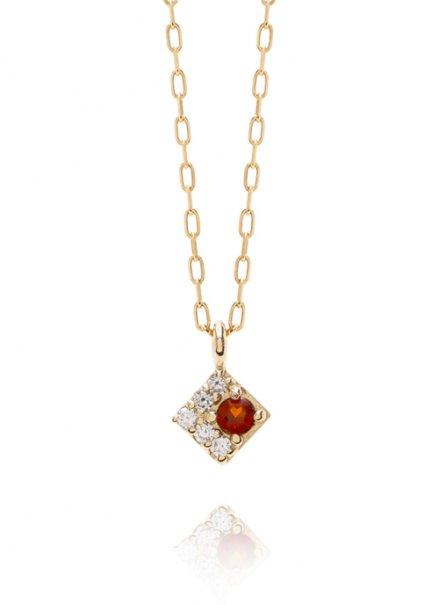 K10YG 誕生石ネックレス「1月ガーネット/ダイヤモンド」