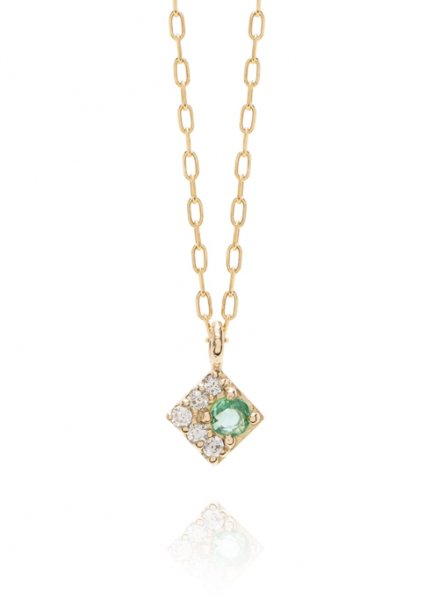K10YG 誕生石ネックレス「5月エメラルド/ダイヤモンド」