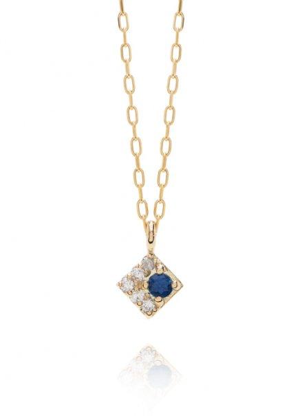 K10YG 誕生石ネックレス「9月サファイア/ダイヤモンド」