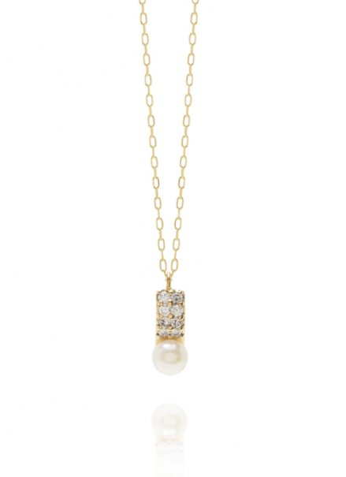 K10YG アコヤパール/ダイヤモンドネックレス