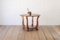 ヴィンテージ 無垢材 ラウンドテーブル 円卓 センター サイド 飾り台 丸 コーヒーテーブル