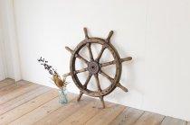 アンティーク 船舶 木製 操舵 舵輪 ハンドル ステア マリン ヴィンテージ 店舗装飾 ディスプレイ 木製