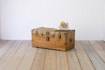 ヴィンテージ 船舶 トランク 木製 無垢材 宝箱 ボックス 収納