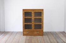 レトロ 扉本箱 本棚 食器棚 玉杢目 ガラス扉 飾り棚 木製 ヴィンテージ 収納 古家具