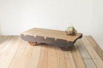 無垢材 荷車 トロリー トロッコ 古道具 インダストリアル 木製 台車 引車 馬車