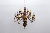 イタリア製 ヴィンテージ クラシカル 12灯 シャンデリア 木製 照明 ランプ アンティーク