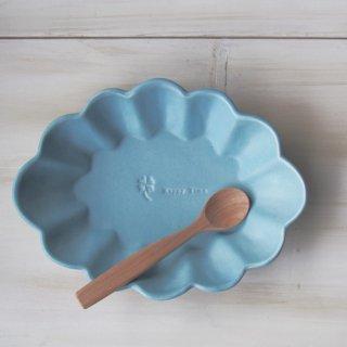 マカロンブルー・花楕円皿-l-