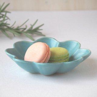 マカロンブルー・花の皿-s-