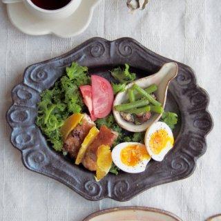 キャラメリゼブラウン・楕円ロココ皿