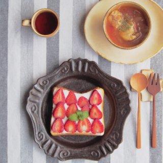 キャラメリゼブラウン・丸ロココ皿