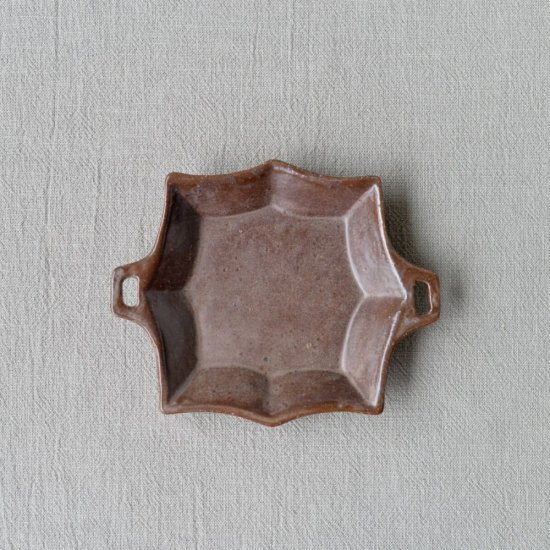 キャラメリゼブラウン・手つき八角皿