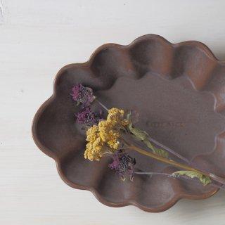マカロンブラウン・花楕円皿-l-