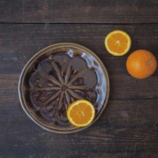 飴釉オレンジ皿