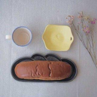 瑠璃釉コッペパン皿