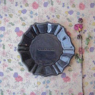 瑠璃釉六角ロココ皿